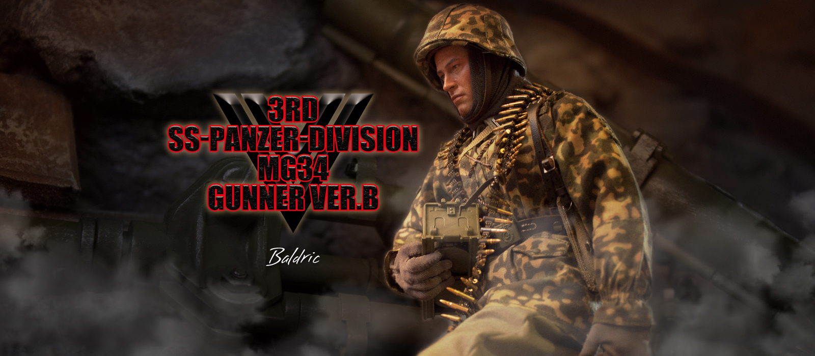 "B MG34 Gunner DID WWII D80125 /""Baldric/"" 3rd Panzer Division Ver"